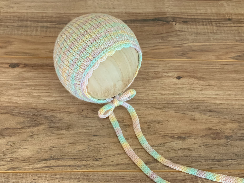 Newborn Everly Bonnet with knit ties | Pastel Rainbow RTS