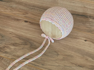 Newborn Everly Bonnet with knit ties | Pastels RTS