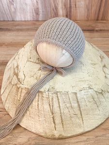 Newborn Textured Ridges Bonnet | Taupe RTS