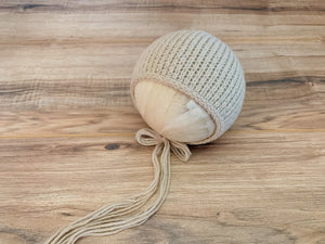 Newborn Textured Ridges Bonnet | Tan RTS