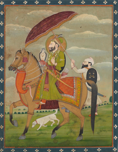 Guru Govind Singh on Horseback with Falcon (c. 1850s)