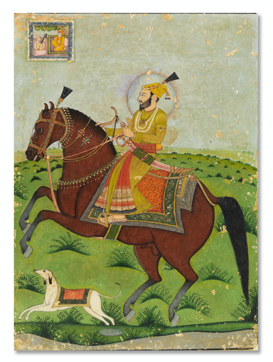 Guru Gobind Singh with Mini Inset of Guru Nanak Dev (c. 1830)