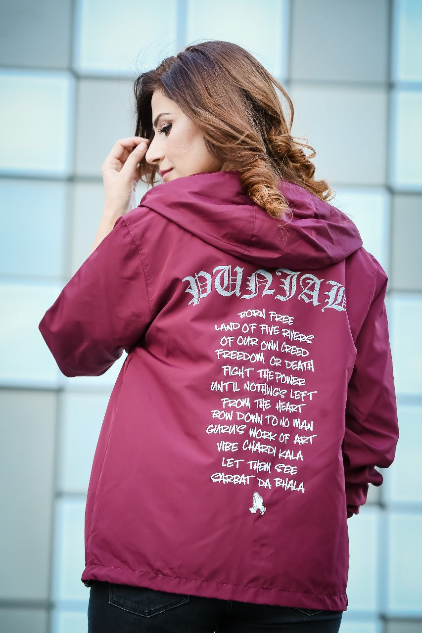 Punjab Born Free Windbreaker - Burgundy