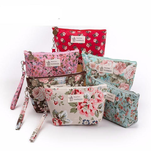 Vintage Floral Printed Cosmetic Bag For Women