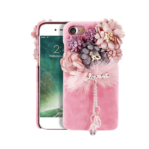 Flower Plush Mink Fur Cases For iPhone 7 Plus 6 6S Phone Case