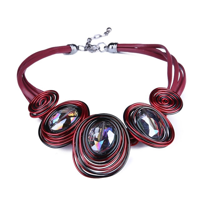 Leather Rope Handwork Created Crystal Choker Necklace