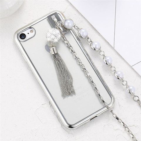iPhone 8 7 Plus 6 6s Case Girly Pearl Tassel Chain Cute Silicon Case