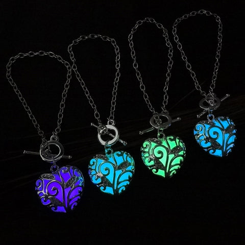 Glowing in Dark Silver Heart Shaped Pendant Bracelets