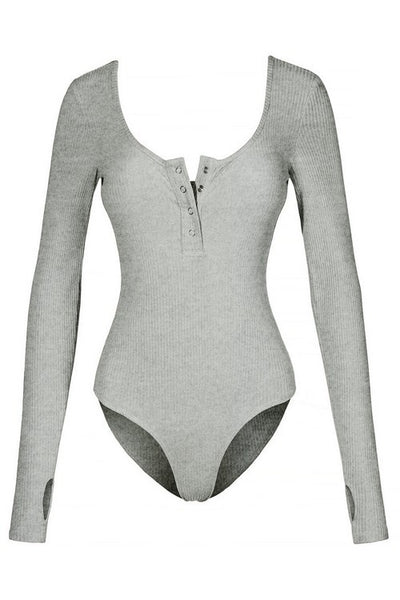 The Perfect Henley Bodysuit (Heather Gray)