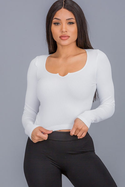Sensation Long Sleeve Crop Top (White)