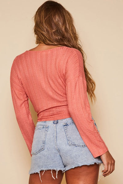 Coral SunSet Waist Tie Top