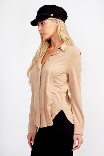 Gigi Button up Blouse (Camel)