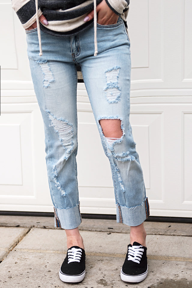 Boyfriend Cut Distressed Jeans