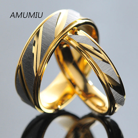 Titanium Steel Couples Rings for Men Women Gold Wedding Bands Engagement Anniversary Lovers his and hers promise KR005