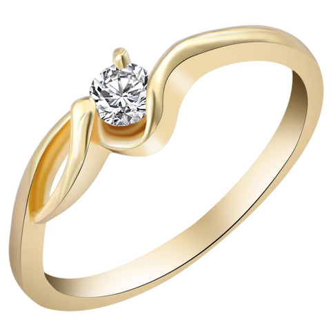 Luxury Brand Wedding Gold Color Unique Shaped Inlay Zirconia Cubic Ring for Women Engagement Gift - Touch of Urban