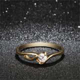 Unique Shaped Inlay Zirconia Cubic Ring for Women
