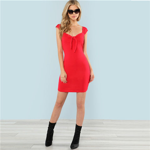 Women Short Knot Bodycon Party Dress