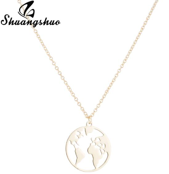 World map necklace women geometric necklace round necklace circle world map necklace women geometric necklace round necklace circle neck touch of urban gumiabroncs Gallery