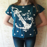 Summer Tops Tees Ladies Short Boat Anchor T-shirt