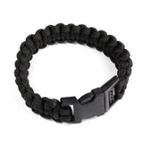Survival Buckle Tent Tight braided Black Paracord Rescue Rope Escape Bracelet