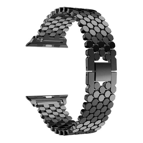 Fashion Scales lines Watchband Link buckle Octagon Stainless Steel Strap bracelet band For Apple watch38/42/40/44 Series 1/2/3/4
