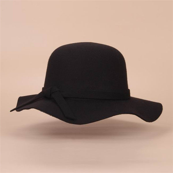 66f8955882bde New Style Soft Child Sun hat Vintage Wide Brim Wool Felt Bowler Fedora Hat  Floppy Cloche