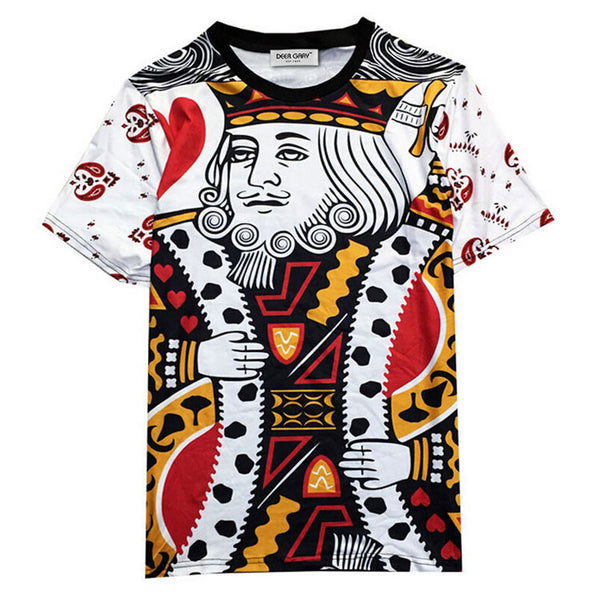 HISBST-Mens Summer King of Hearts Poker Shirt