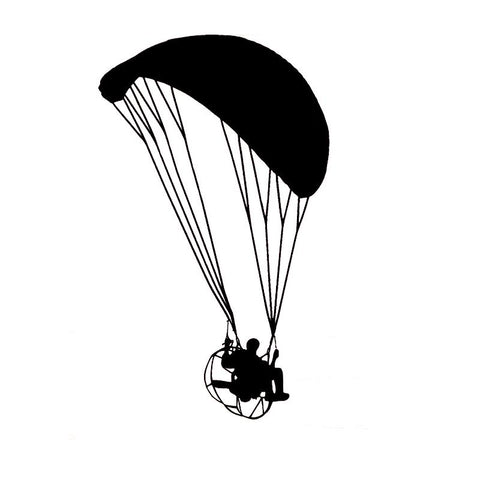 Paramotor Vinyl Decal Black/Silver - LawnchairAviator