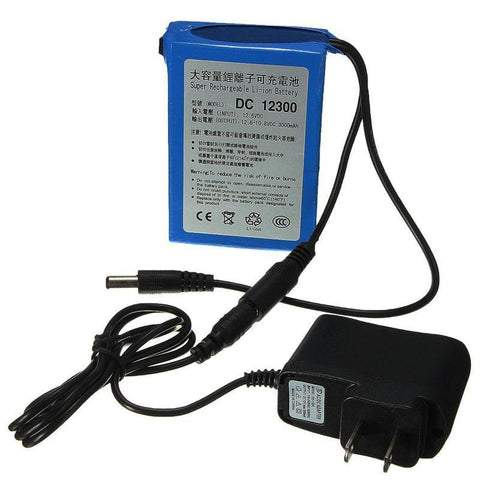 DC 12V 8000mAh Portable Li-ion Battery Pack with AC Wall Charger - LawnchairAviator