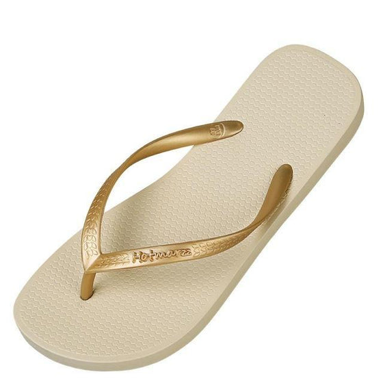 Beige Metallic Slim Thongs - COLE