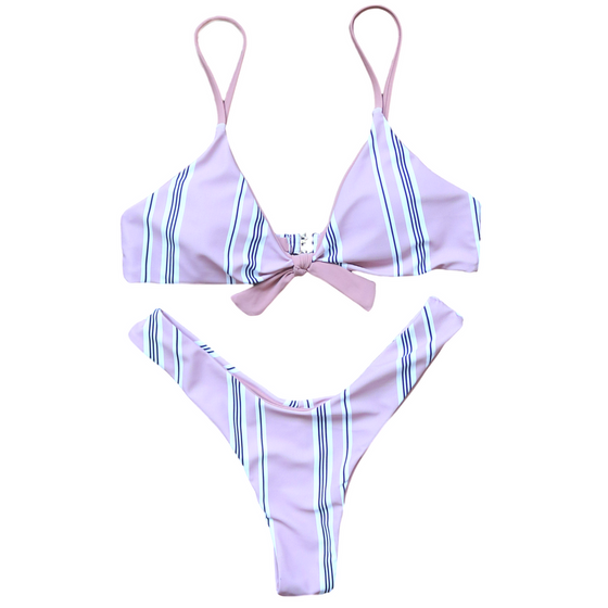 Pika Striped Tie Front Bikini - COLE
