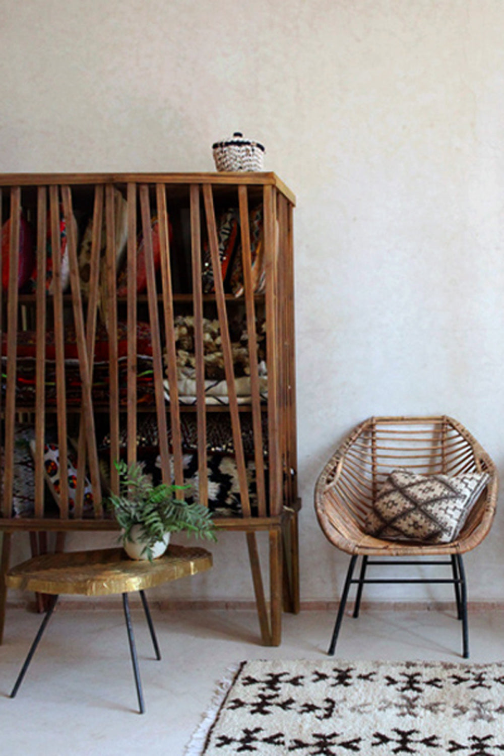 a mid century modern home features a vintage moroccan azilal inspired by a field of wildflowers