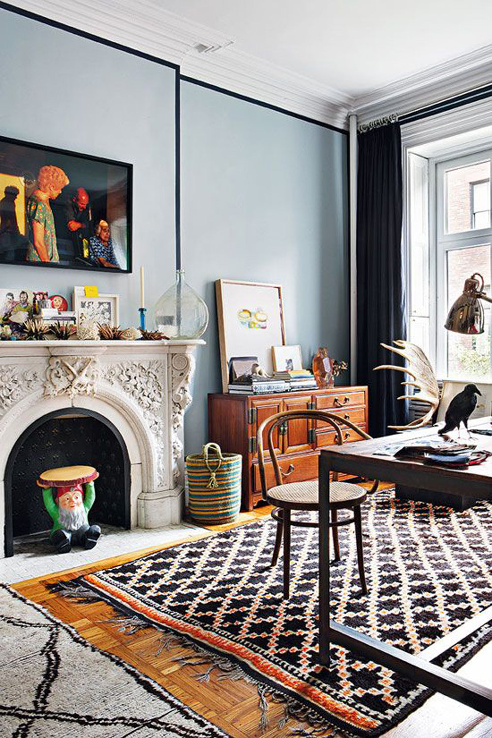 a mismatched pair of vintage checkered moroccan rugs in this brooklyn townhome