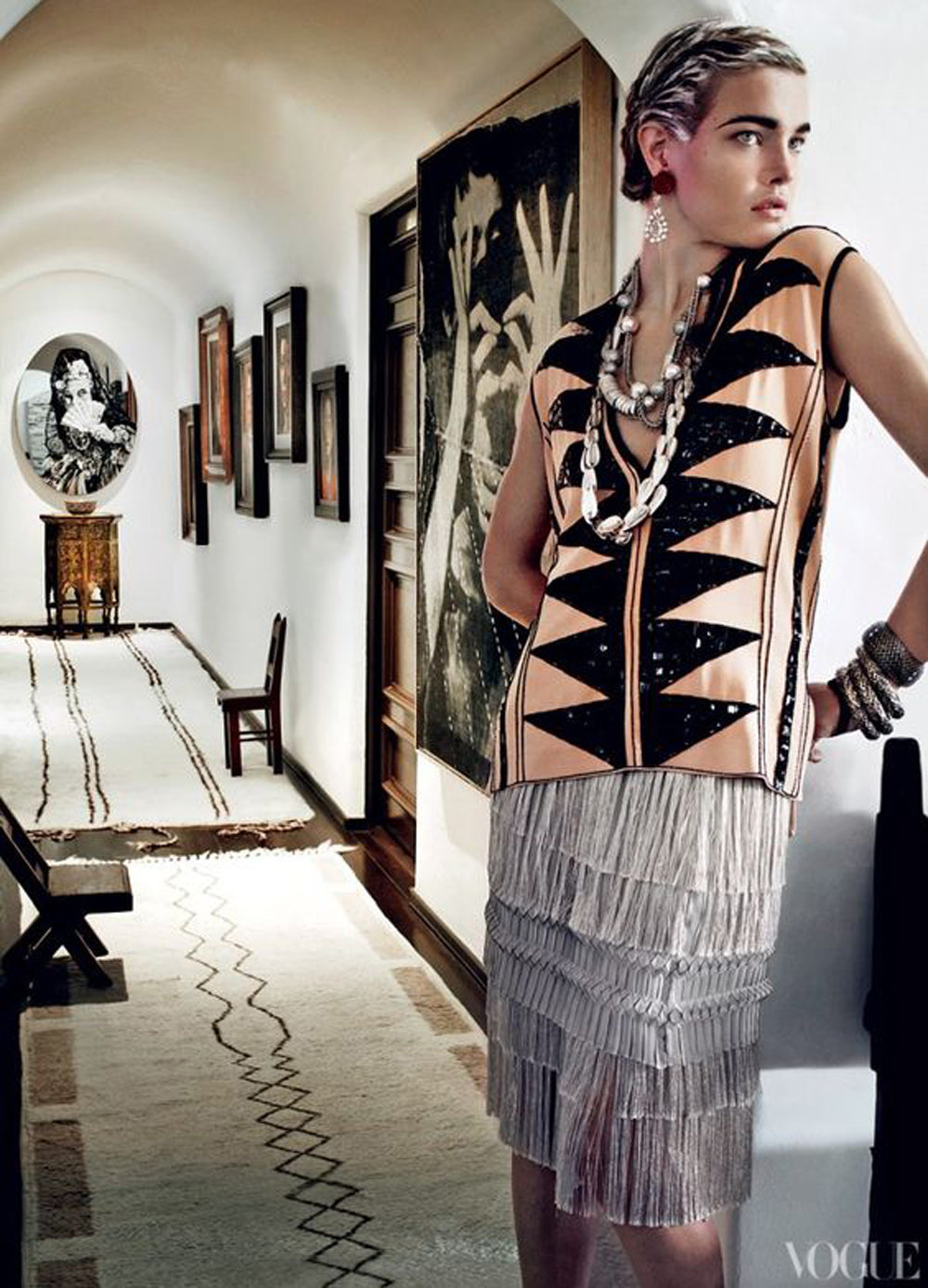 primitive striped pattern in the hallway of the new york penthouse of photographer mario testino