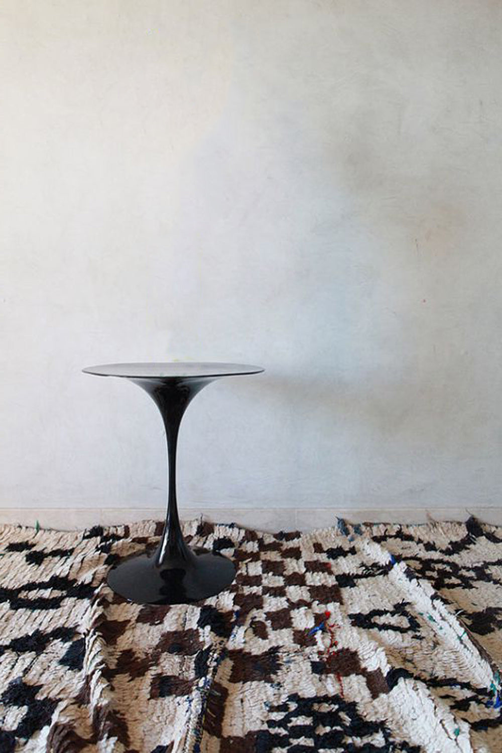a black white vintage azilal with impulsive free form checkered pattern