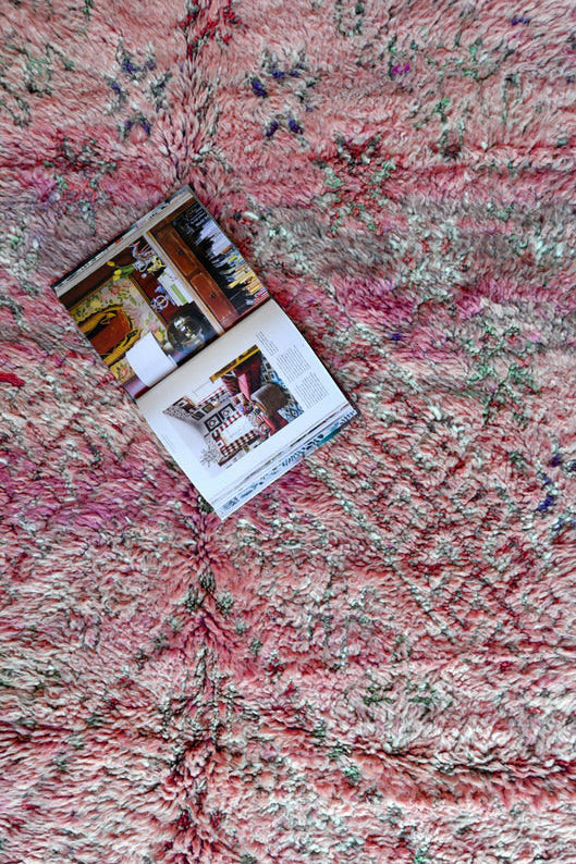 a pink beni mguild rug from the gardener's house