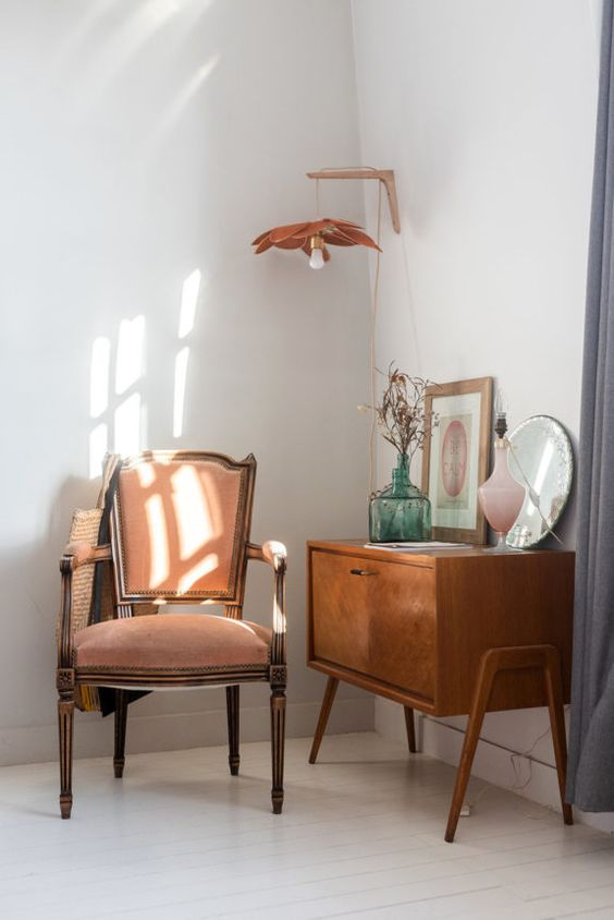 Spring in Paris, a mid century modern Parisian home decorated in fresh green and blush pink hues