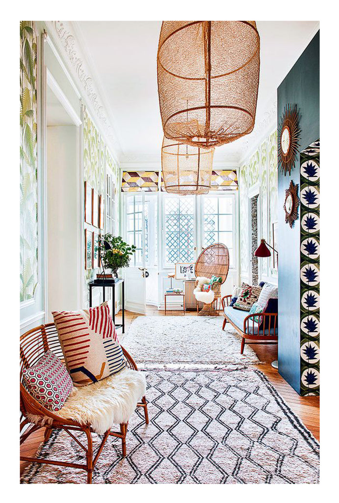 beautiful rooms with beni ourain: a classic California cool living room includes a vintage beni ourain rug