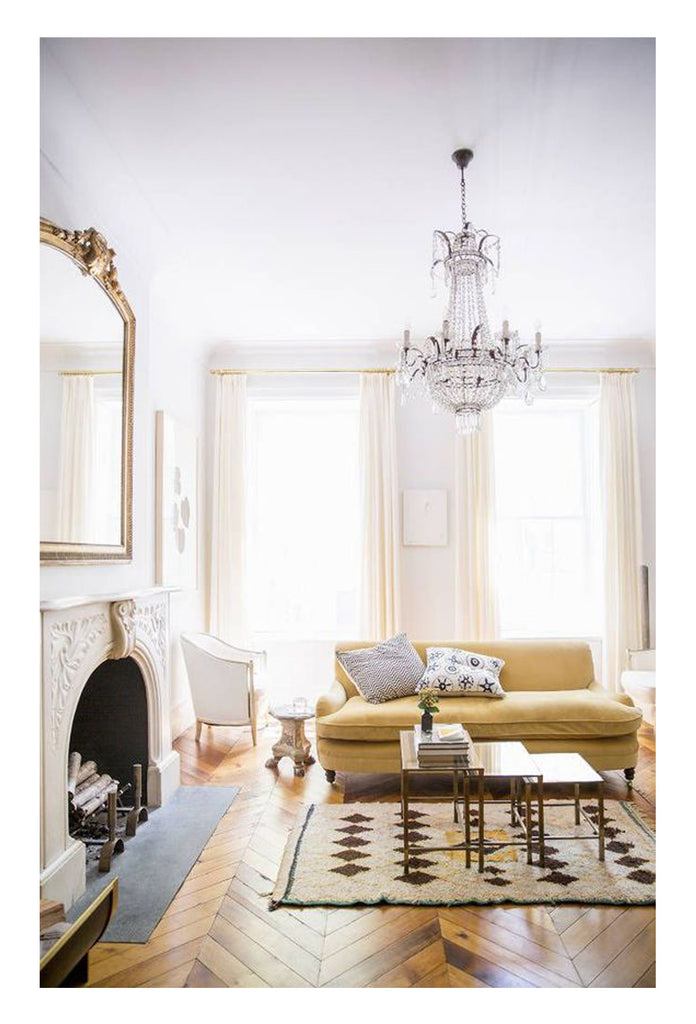 beautiful rooms with beni ourain: yellow sofas and a vintage azilal in jenna lyons former home