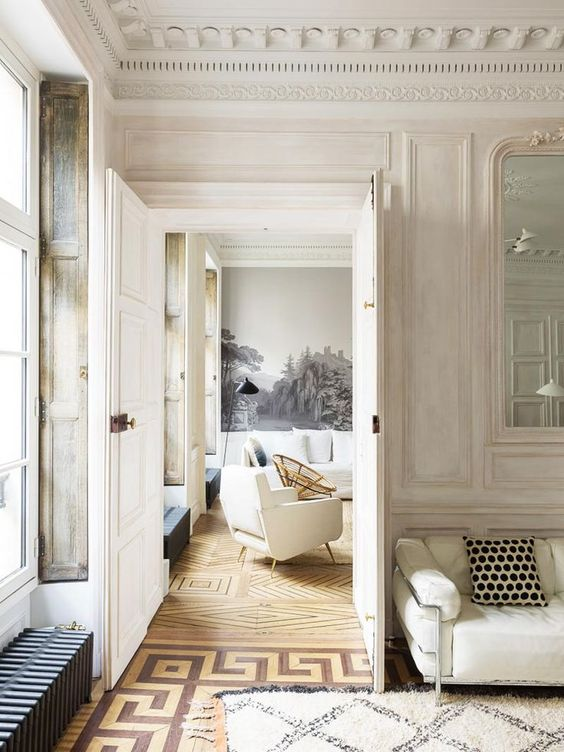 beautiful rooms with beni ourain: a Paris apartment with timeless elegant architectural finishes and beni ourain rugs