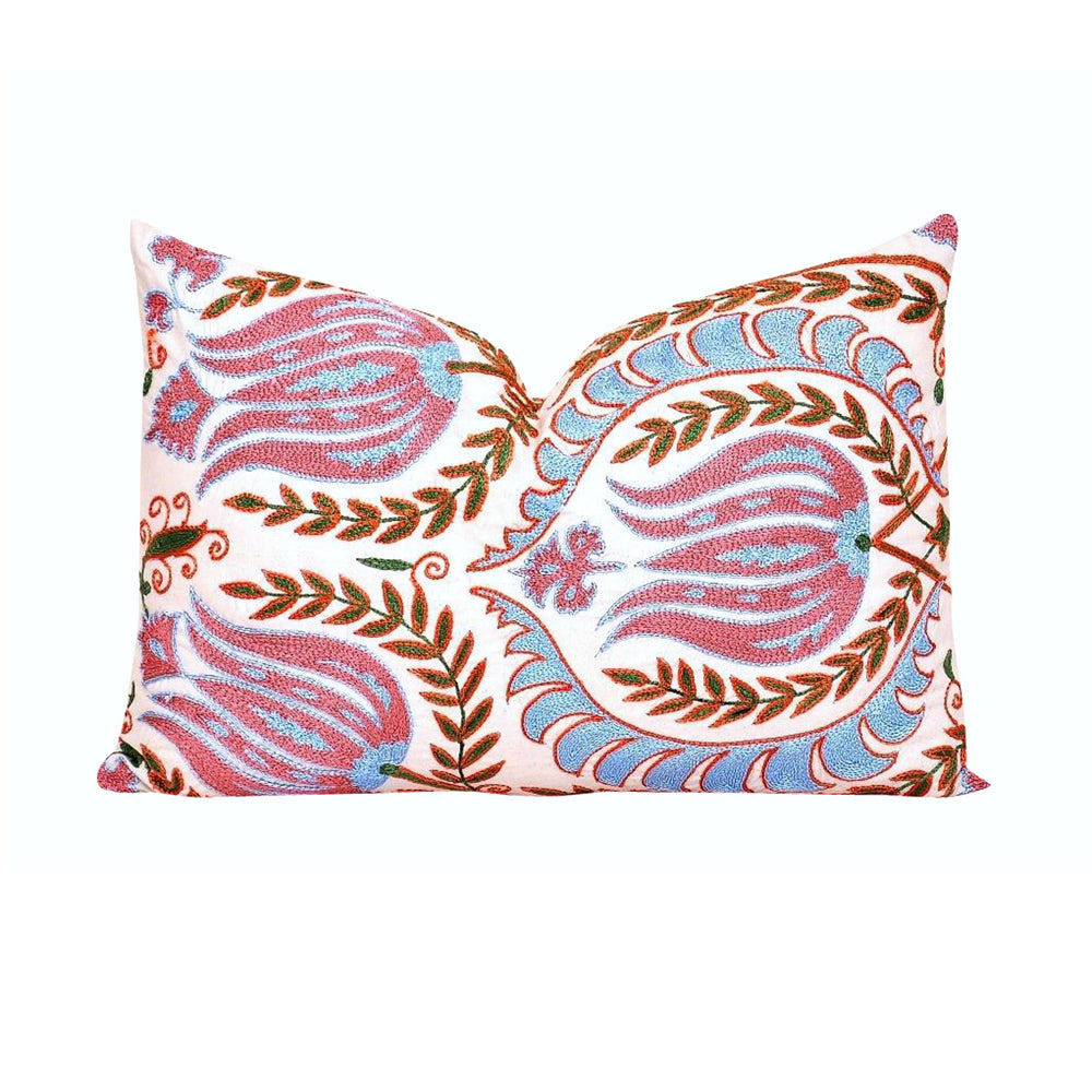 Silk Embroidered Cotton Pillow
