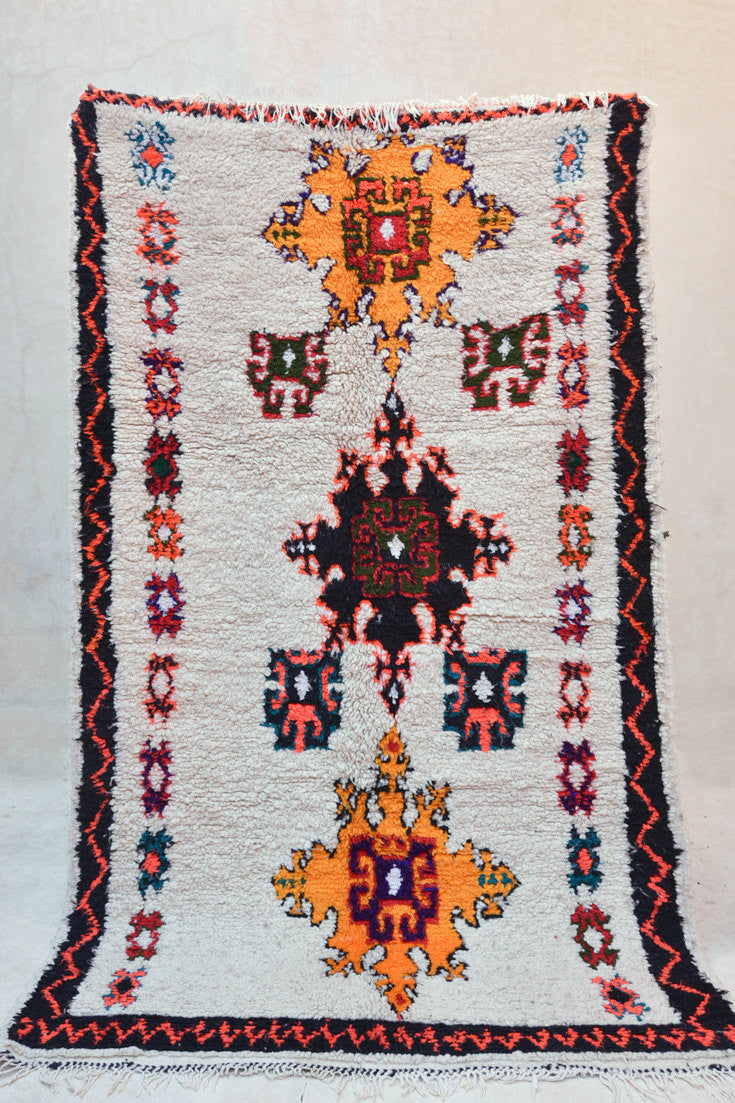 "The LIFE & OPINIONS of a FLOWERCHILD Boucherouite Rug. 7'3"" x 4'4"""