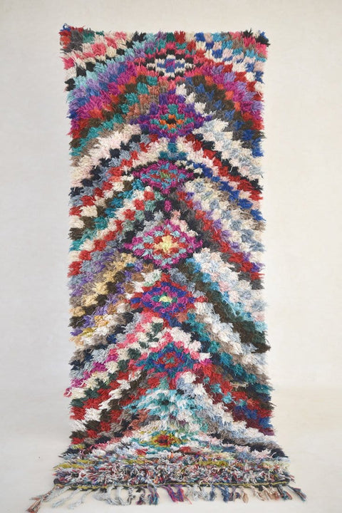 "You Put BERRIES in MY HEART Boucherouite Rug. 8'9"" x 3'5"""