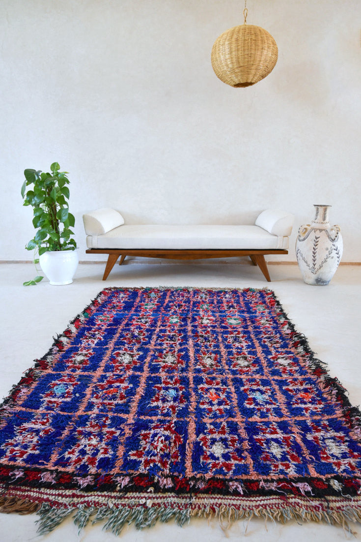 "NIGHT SKY OVER SOUTH PACIFIC Boucherouite Rug. 6'3"" x 4' - Beni ourain, vintage moroccan rug, beni mguild, custom rug - the gardener's house"