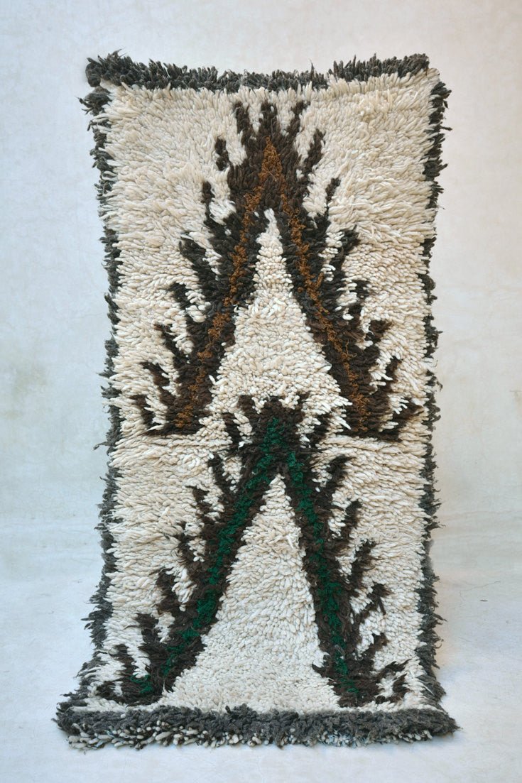 HIGHWAY MELODY Boucherouite Runner Rug. 5' x 2'5""