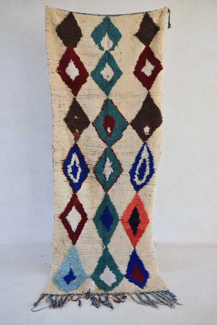 "WILD WIND TRAIL Azilal Runner Rug. 9'4"" x 3'7"" - Beni ourain, vintage moroccan rug, beni mguild, custom rug - the gardener's house"