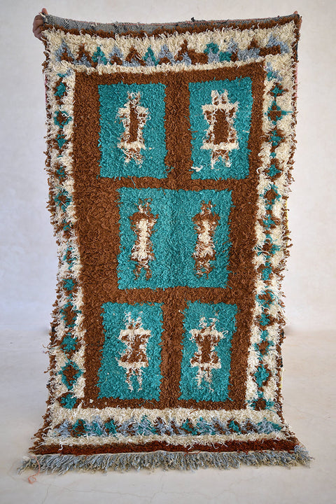 "EARTH AND SKY Boucherouite Rug. 5'9"" x 3'3"" - Beni ourain, vintage moroccan rug, beni mguild, custom rug - the gardener's house"