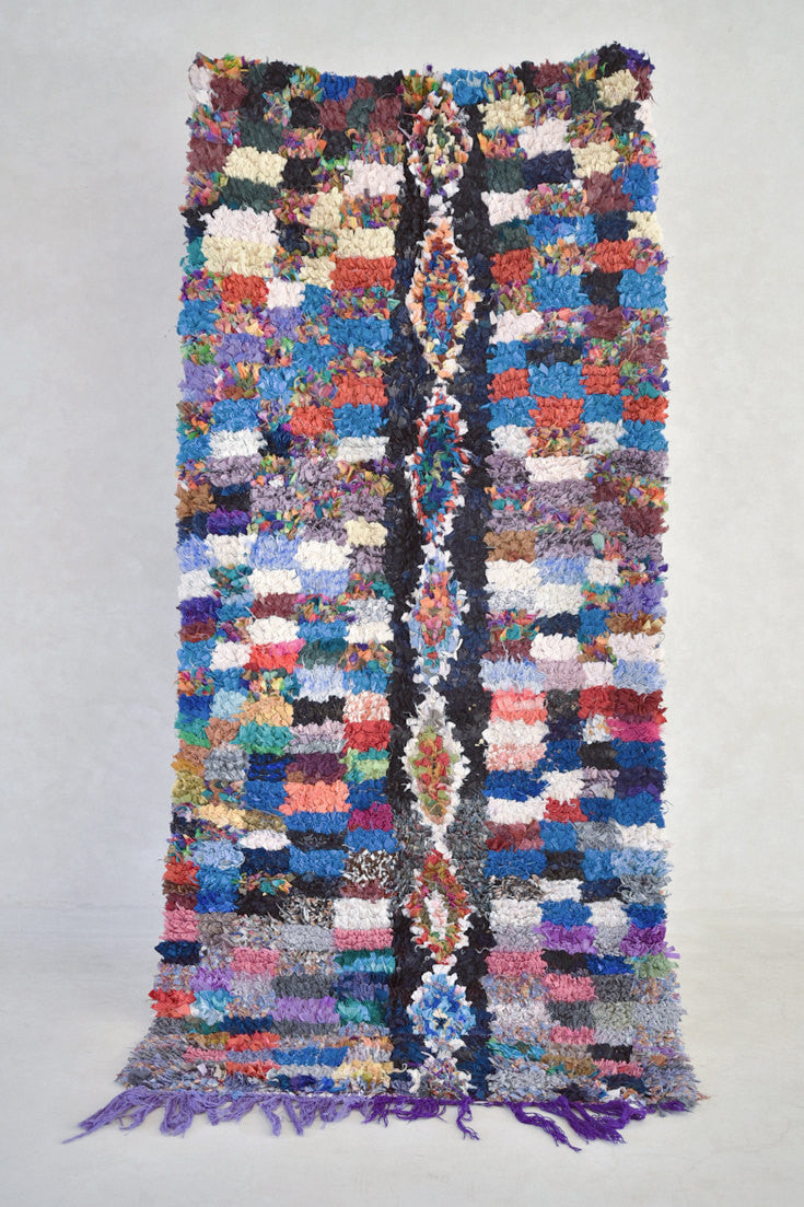 "A TWINKLE on the MILKY WAY Boucherouite Runner Rug. 7'3"" x 3'5"""