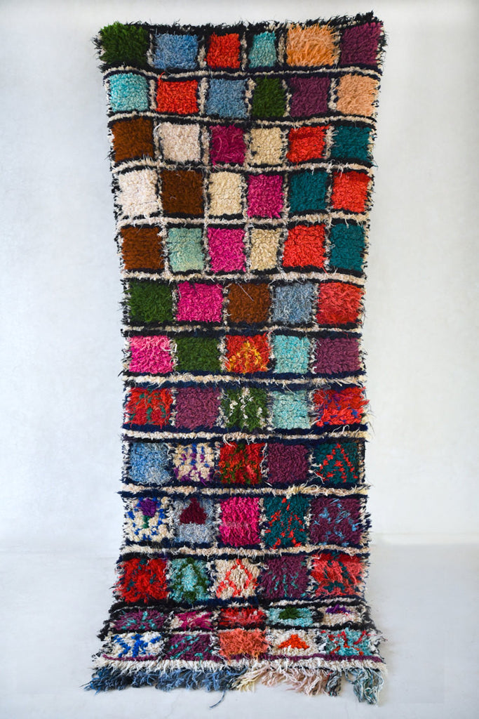 "ALL The DAHLIAS In Her GARDEN Boucherouite Runner Rug. 9'1"" x 3'7"""