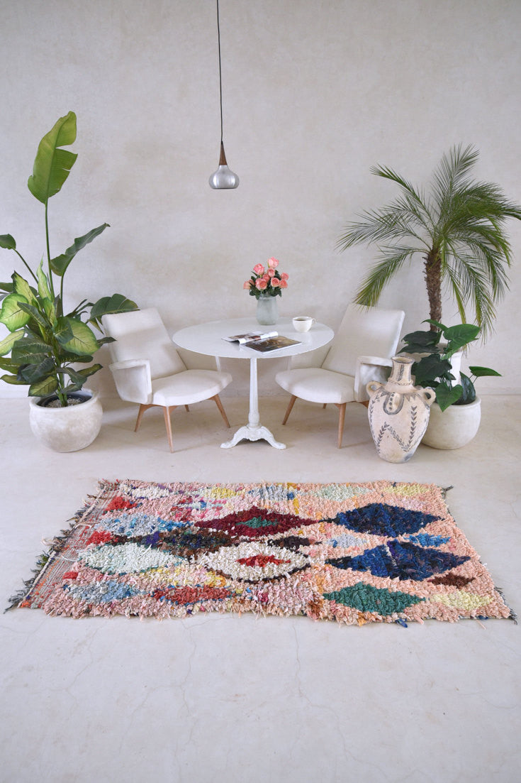 "Approach Empty Canvas With A SECRET GENTLE SOUL Boucherouite Rug. 6'2"" x 3' - Beni ourain, vintage moroccan rug, beni mguild, custom rug - the gardener's house"